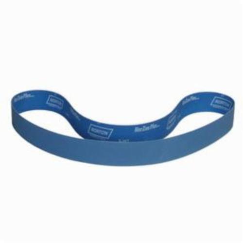 Norton® BlueFire® 78072727146 R821P Narrow Coated Abrasive Belt, 2 in W x 72 in L, 40 Grit, Extra Coarse Grade, Zirconia Alumina Abrasive, Cotton Backing