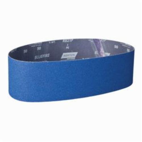 Norton® BlueFire® 78072727475 R821P Narrow Coated Abrasive Belt, 4 in W x 36 in L, 50 Grit, Coarse Grade, Zirconia Alumina Abrasive, Cotton Backing