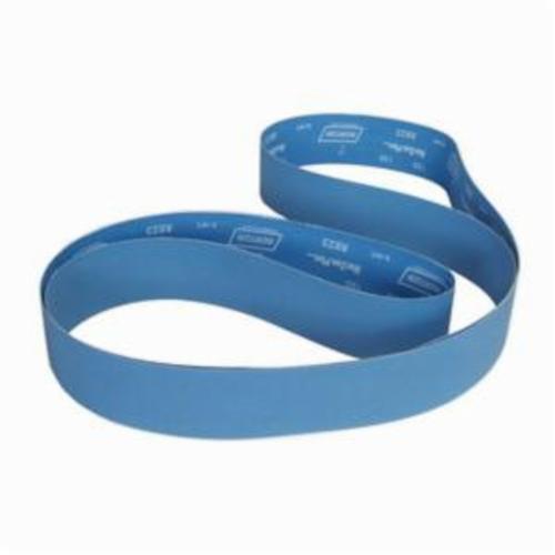 Norton® BlueFire® 78072728792 R823P Narrow Coated Abrasive Belt, 3 in W x 132 in L, 80 Grit, Coarse Grade, Zirconia Alumina Abrasive, Polyester Backing