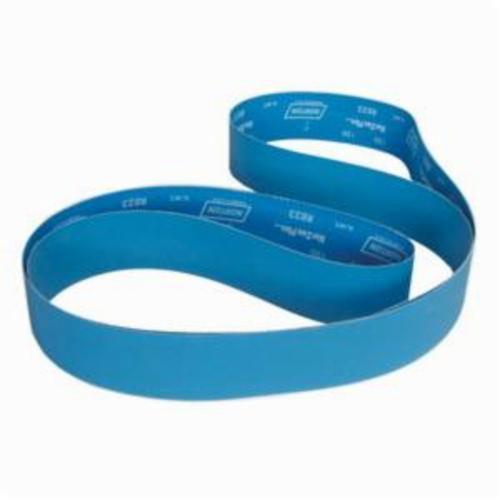 Norton® BlueFire® 78072750281 R884P Narrow Coated Abrasive Belt, 4 in W x 132 in L, 60 Grit, Coarse Grade, Zirconia Alumina Abrasive, Polyester Backing
