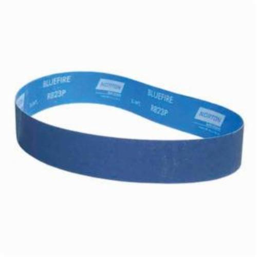 Norton® BlueFire® 78072761959 R823P Narrow Coated Abrasive Belt, 2 in W x 36 in L, 120 Grit, Medium Grade, Zirconia Alumina Abrasive, Polyester Backing