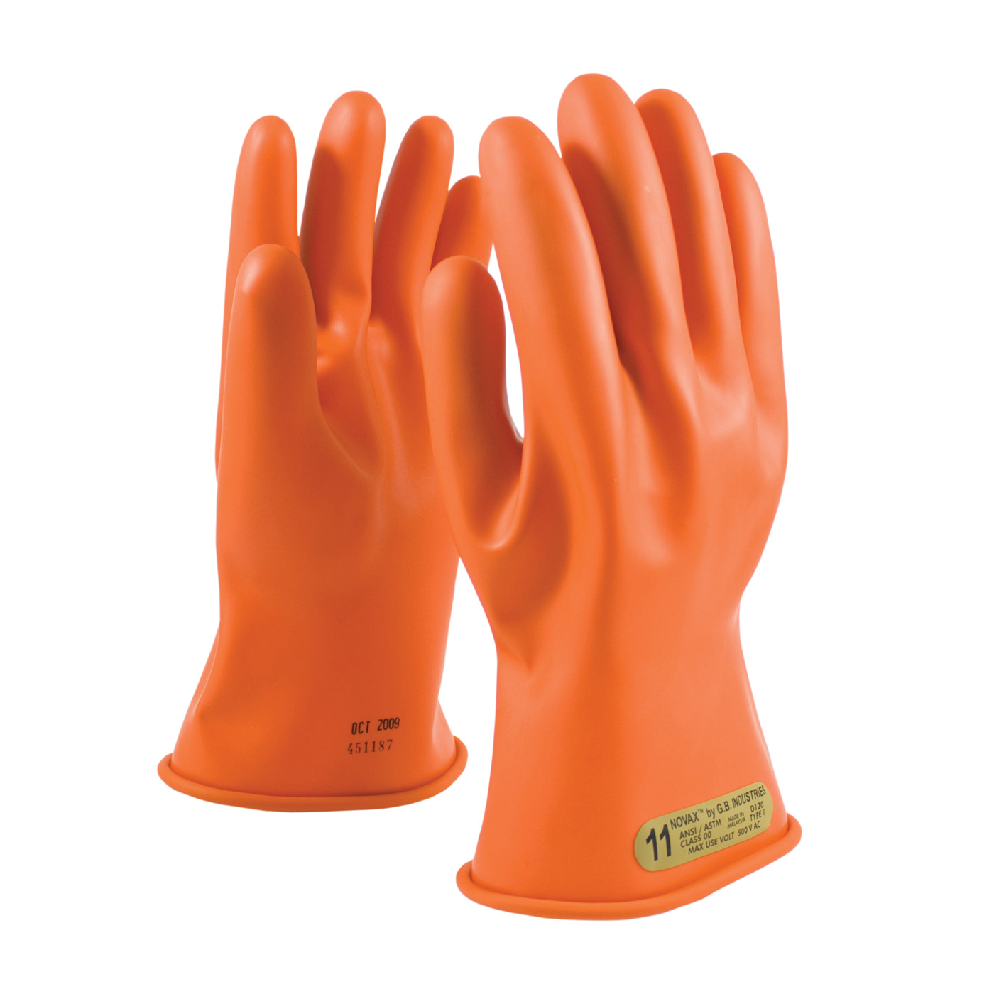 Novax® 147-00-11/10 Insulating Unisex Electrical Safety Gloves, SZ 10, Natural Rubber, Orange, 11 in L, ASTM Class: Class 00, 500 VAC/750 VDC Max Use Voltage