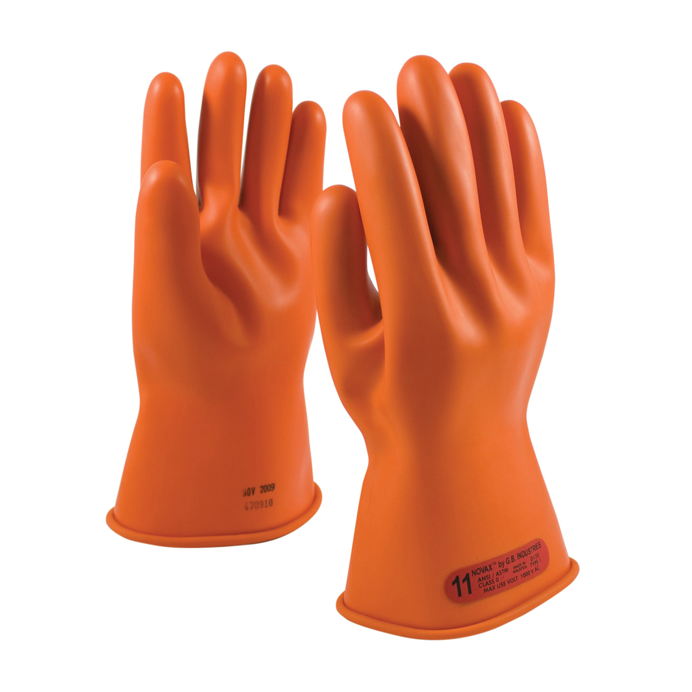 Novax® 147-0-11/8 Insulating Unisex Electrical Safety Gloves, SZ 8, Natural Rubber, Orange, 11 in L, ASTM Class: Class 0, 1000 VAC/1500 VDC Max Use Voltage