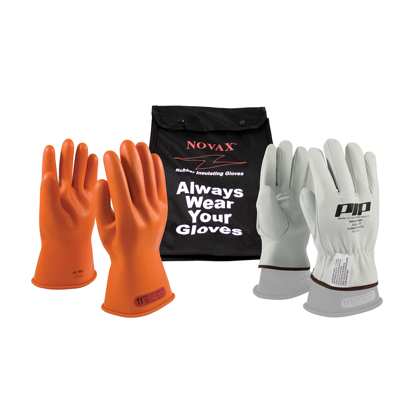 Novax® 147-SK-0/9-KIT Insulating Unisex Electrical Safety Gloves Kit, SZ 9, Goatskin Leather/Natural Rubber, Natural/Orange, 11 in L, ASTM Class: Class 0, 1000 VAC, 1500 VDC Max Use Voltage