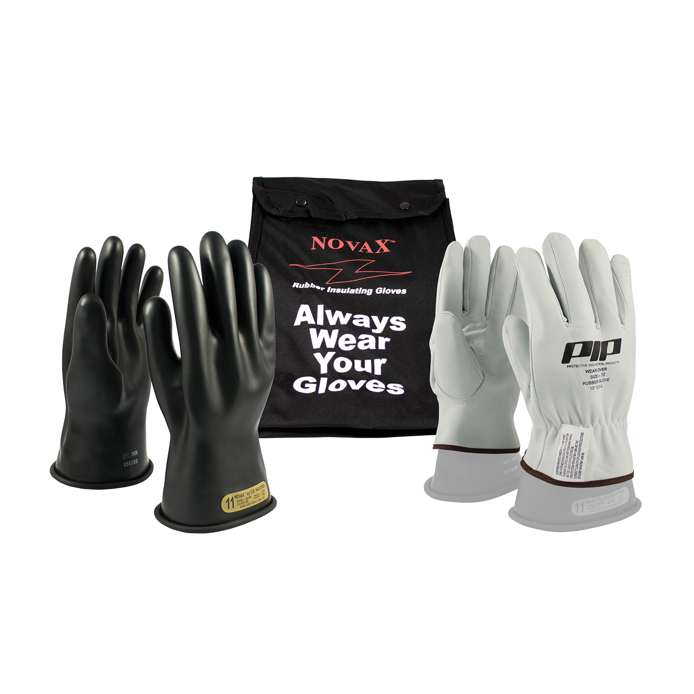 Novax® 150-SK-00/10-KIT Insulating Unisex Electrical Safety Gloves Kit, SZ 10, Goatskin Leather/Natural Rubber, Black/Natural, 11 in L, ASTM Class: Class 00, 500 VAC, 750 VDC Max Use Voltage