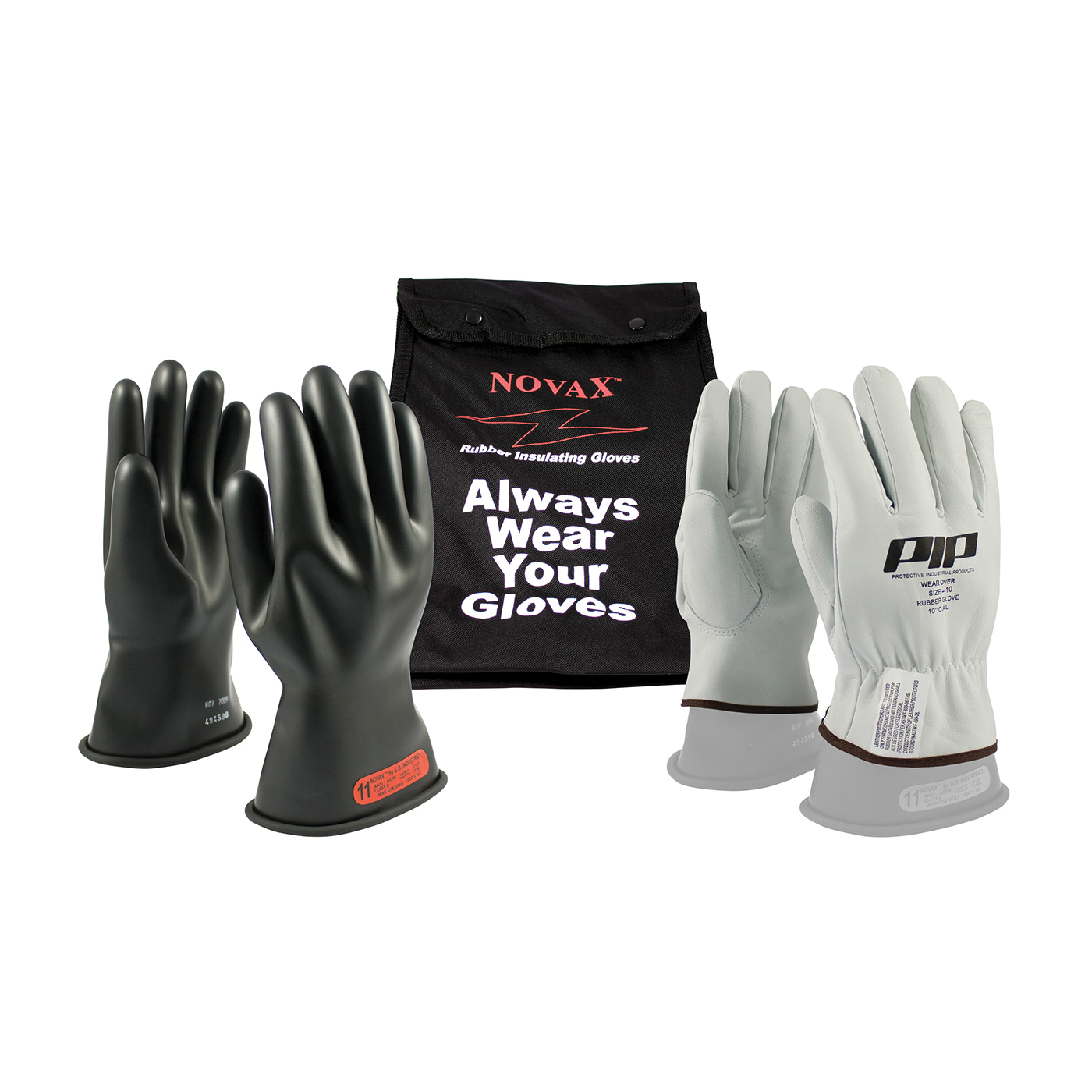 Novax® 150-SK-0/10-KIT Insulating Unisex Electrical Safety Gloves Kit, SZ 10, Goatskin Leather/Natural Rubber, Black/Natural, 11 in L, ASTM Class: Class 0, 1000 VAC, 1500 VDC Max Use Voltage