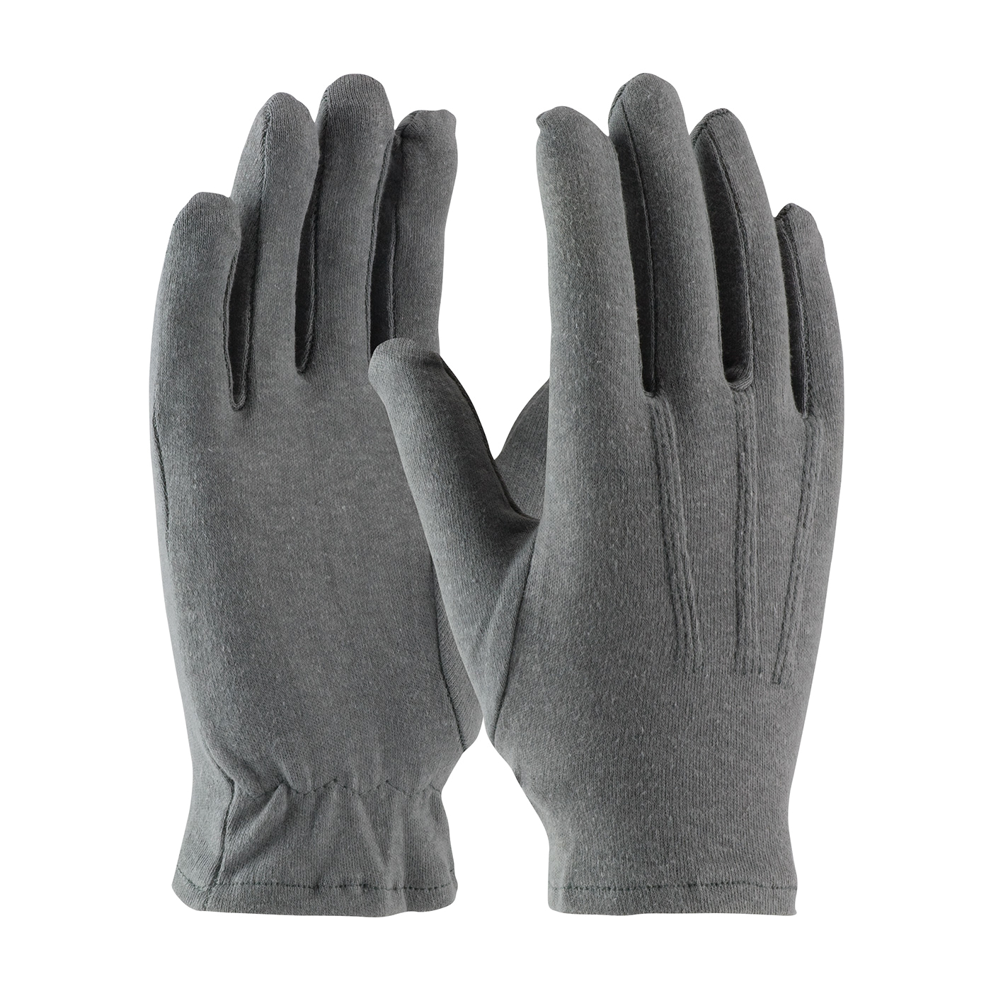 PIP® Cabaret™ 130-100GM Cabaret™ Mens Dress Gloves With Raised Stitching on Back, Cotton, Gray, Unlined Lining, Open Cuff, 9.7 in L, Resists: Abrasion and Cut