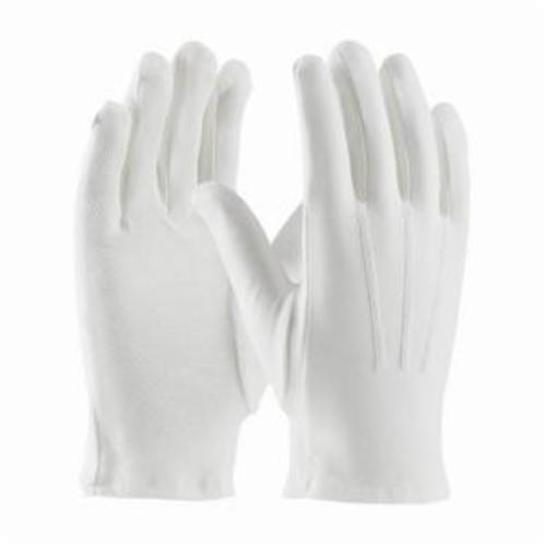 PIP® 130-100WMPD Cabaret™ Dress Gloves With Raised Stitching on Back, Cotton, White, Unlined Lining, Open Cuff, 9.7 in L