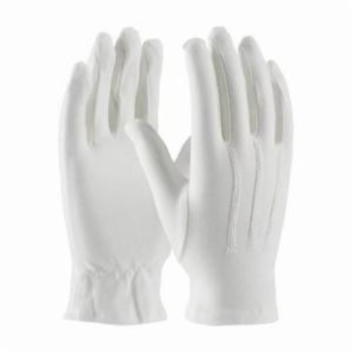 PIP® 130-100WM Cabaret™ Dress Gloves With Raised Stitching on Back, Cotton, White, Unlined Lining, Open Cuff, 9.4 in L