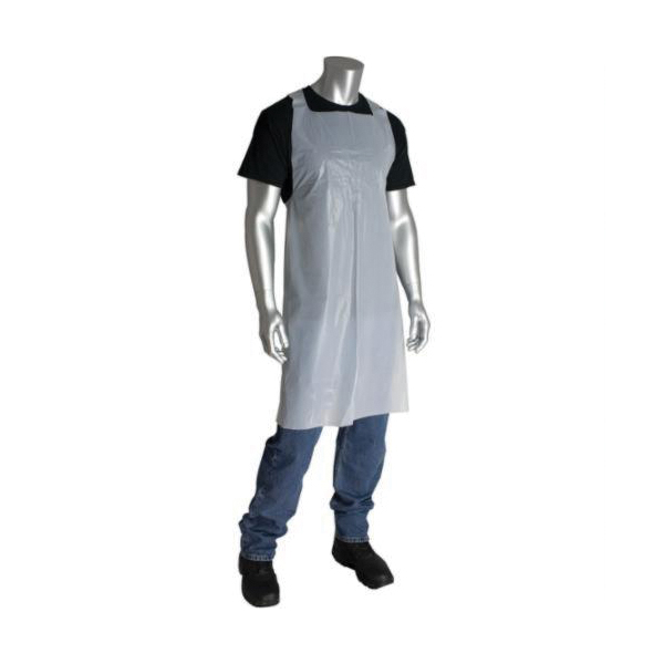 PIP® 200-06002 Single Use Bib Apron, Polyethylene, 46 in L x 28 in W, Resists: Chemical, Fats, Oil and Grease