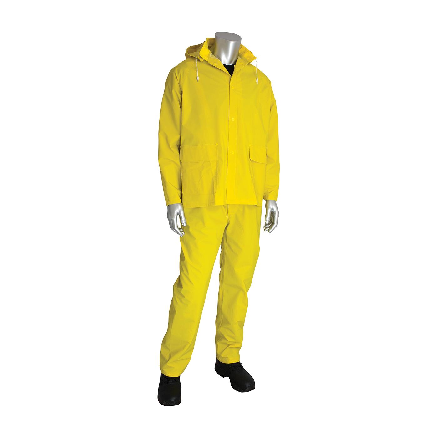 PIP® 201-370X1 3-Piece Premium Rainsuit, XL, Hi-Viz Lime Yellow, Polyester/Corduroy/PVC, 50 in Waist, 31 in L Inseam, Detachable Hood