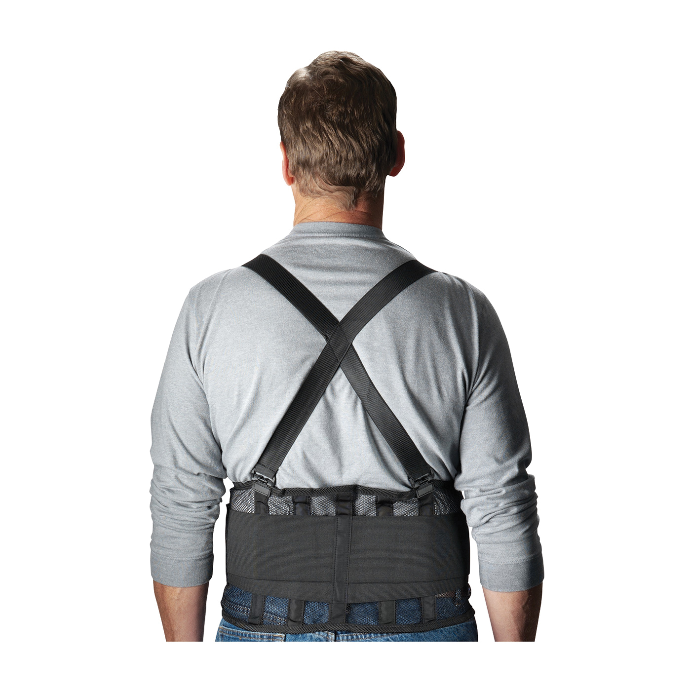 PIP® 290-440L Ergonomic Back Support Belt, L, 40 to 44 in Fits Waist, 9 in W, Nylon Mesh, Black, Hook and Loop Closure