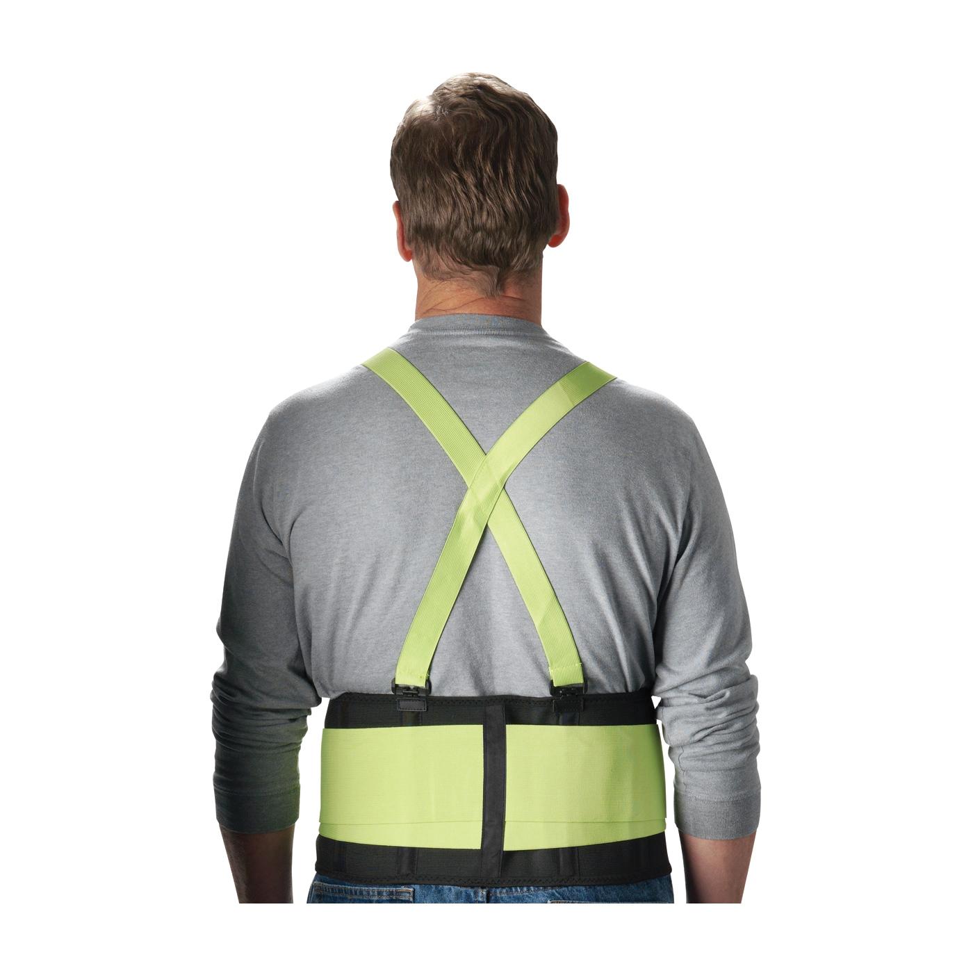 PIP® 290-550L Ergonomic Back Support Belt, L, 40 to 44 in Fits Waist, 8 in W, Nylon Elastic, Black/Hi-Viz Lime, Hook and Loop Closure