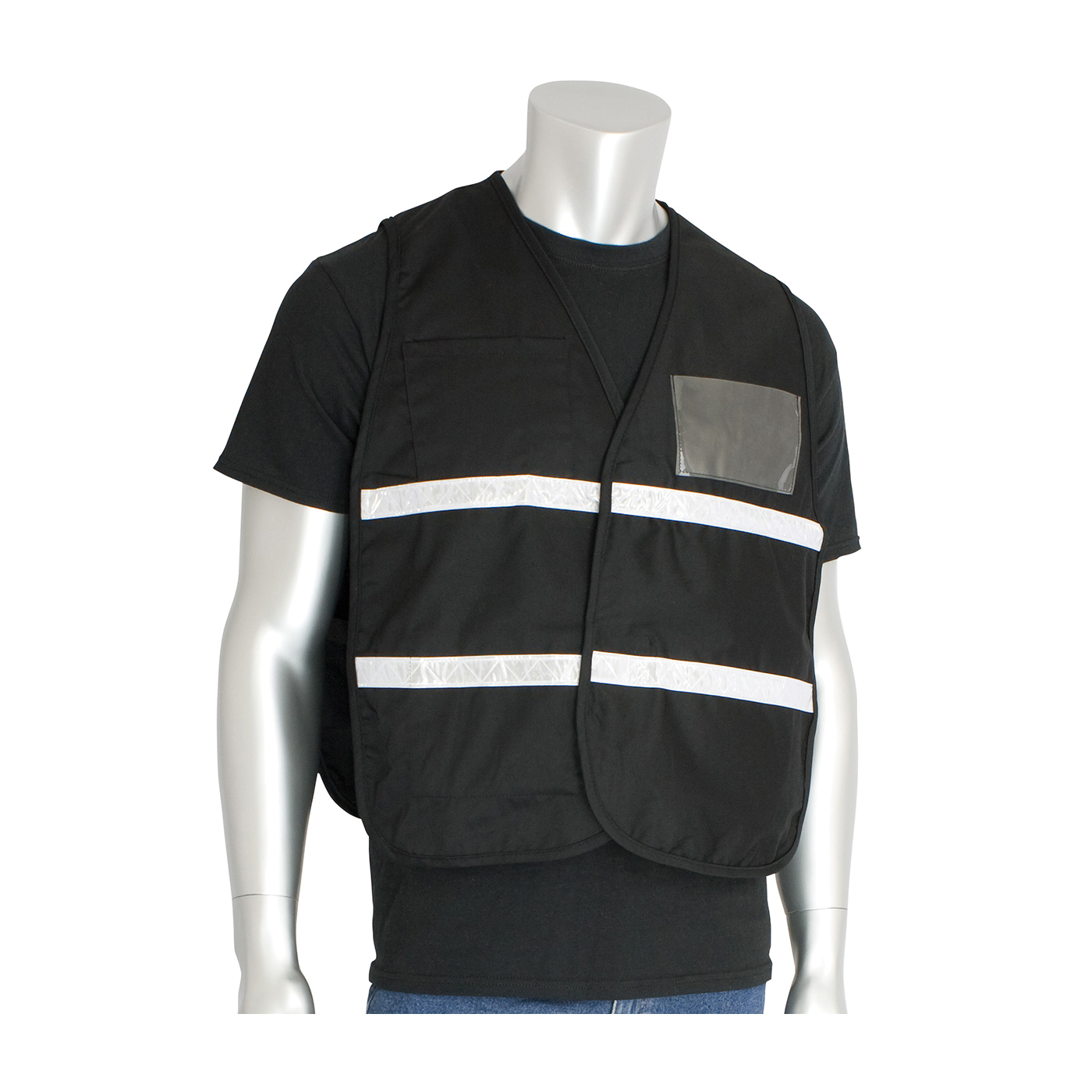 PIP® 300-1502/2X-3X Incident Command Vest, 2XL/3XL, Black, Polyester, 42.1 in Chest, Hook and Loop Closure