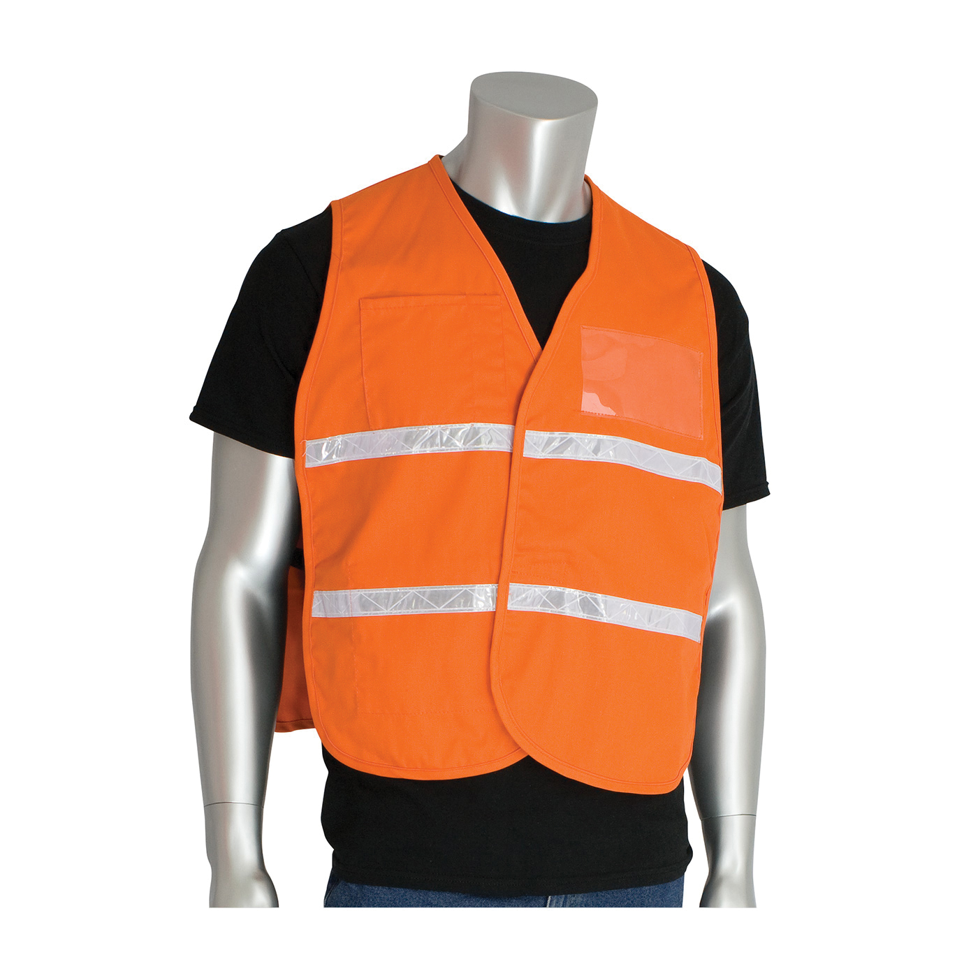 PIP® 300-1507/2X-3X Incident Command Vest, 2XL/3XL, Orange, Polyester, 42.1 in Chest, Hook and Loop Closure