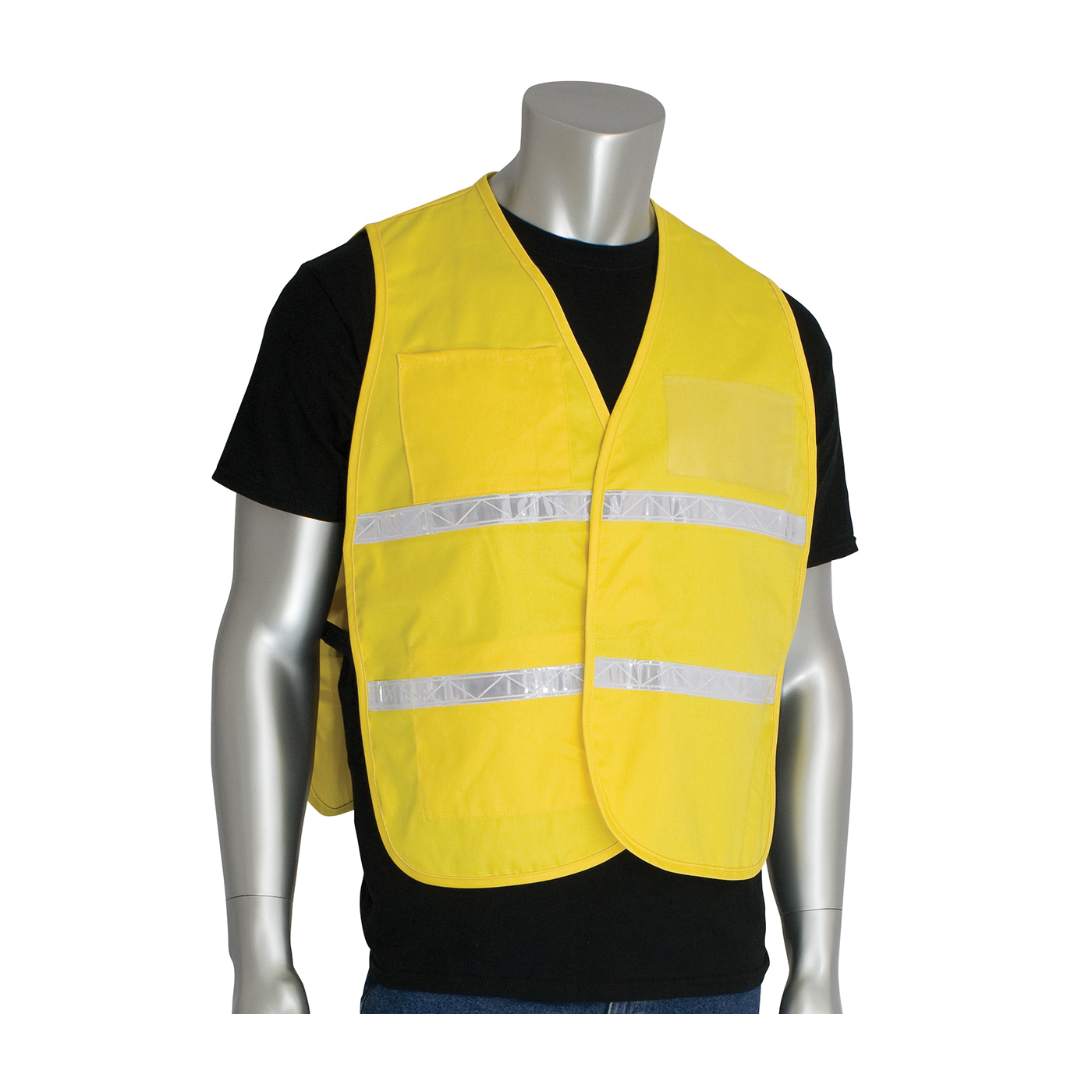 PIP® 300-1510/2X-3X Incident Command Vest, 2XL/3XL, Yellow, Polyester, 42.1 in Chest, Hook and Loop Closure