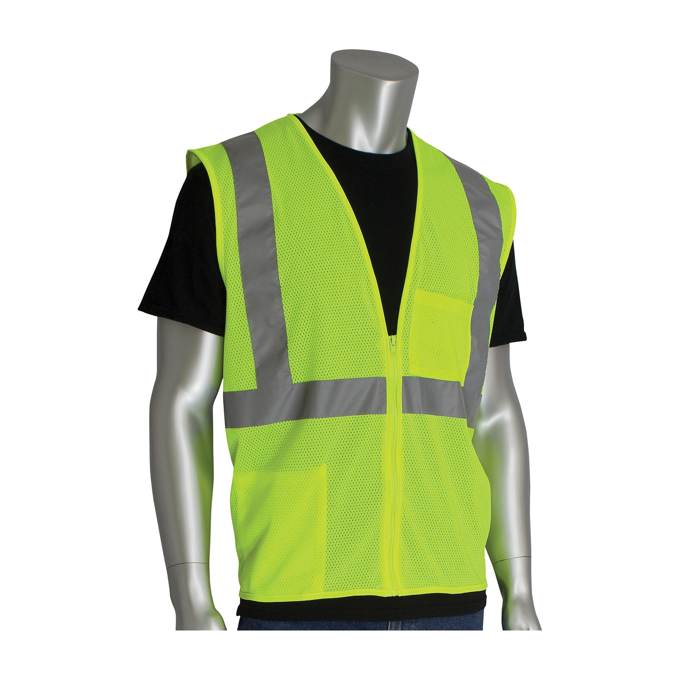 PIP® 302-0702Z Safety Vest, Hi-Viz Lime Yellow, Polyester Mesh, Zipper Closure, 2 Pockets, ANSI Class: Class 2, Specifications Met: ANSI 107 Type R