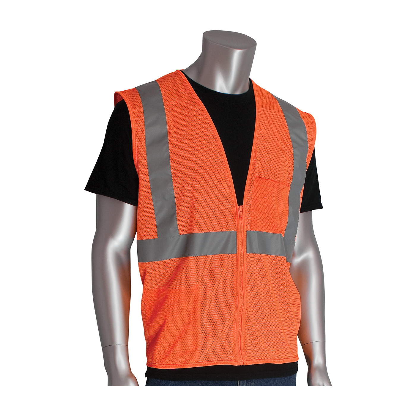 PIP® 302-0702Z-OR Safety Vest, Hi-Viz Orange, Polyester Mesh, Zipper Closure, 2 Pockets, ANSI Class: Class 2, Specifications Met: ANSI 107 Type R