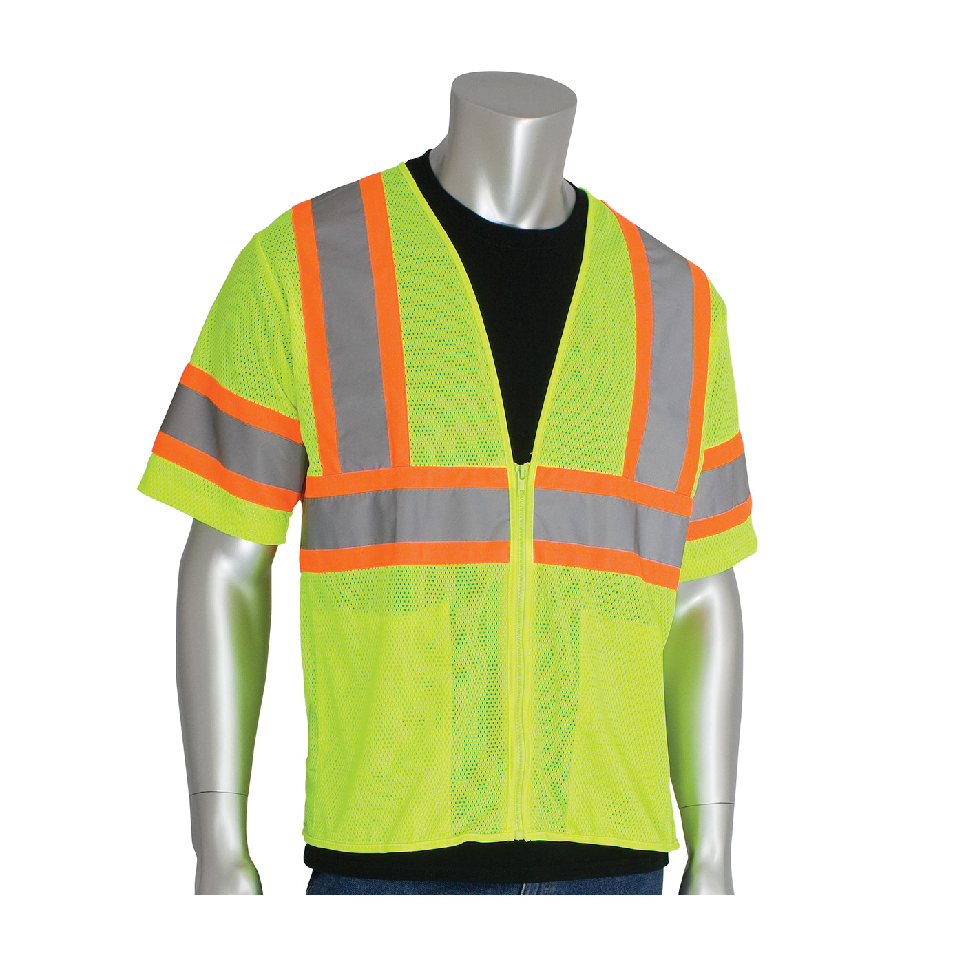 PIP® 303-HSVPLY- 2-Tone Safety Vest, Hi-Viz Lime Yellow, Polyester Mesh, Zipper Closure, 2 Pockets, ANSI Class: Class 3, Specifications Met: ANSI 107 Type R