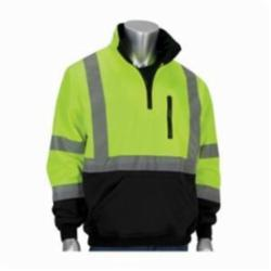 PIP® 323-1330B-LY/2X Sweatshirt With Black Bottom, Unisex, 2XL, Lime Yellow, Polyester Fleece, 31-1/2 in L