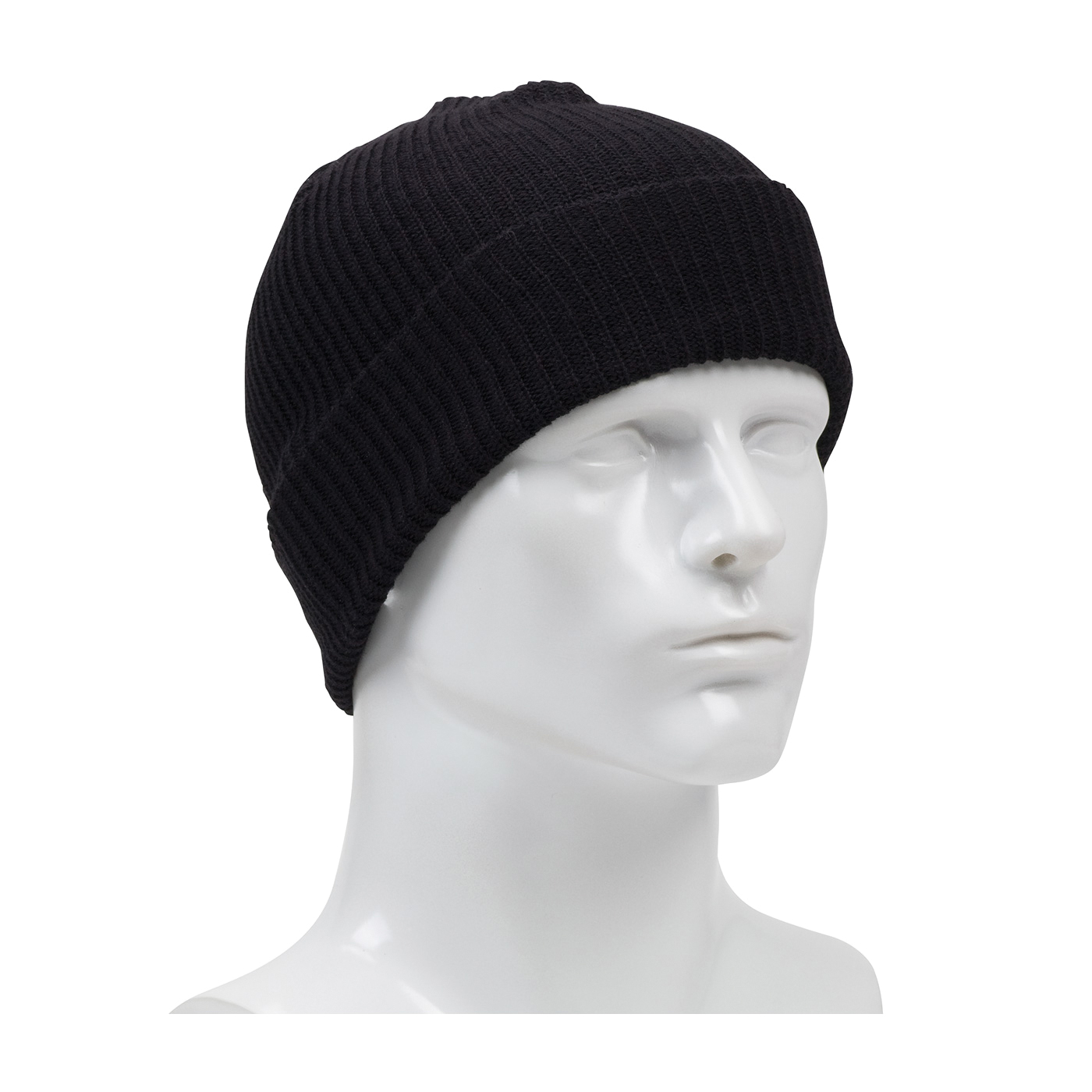 PIP® 360-1500FR-BK 2-Layer Winter Watch Cap, Universal, Black, Rib Knit 60% Modacrylic/40% Cotton