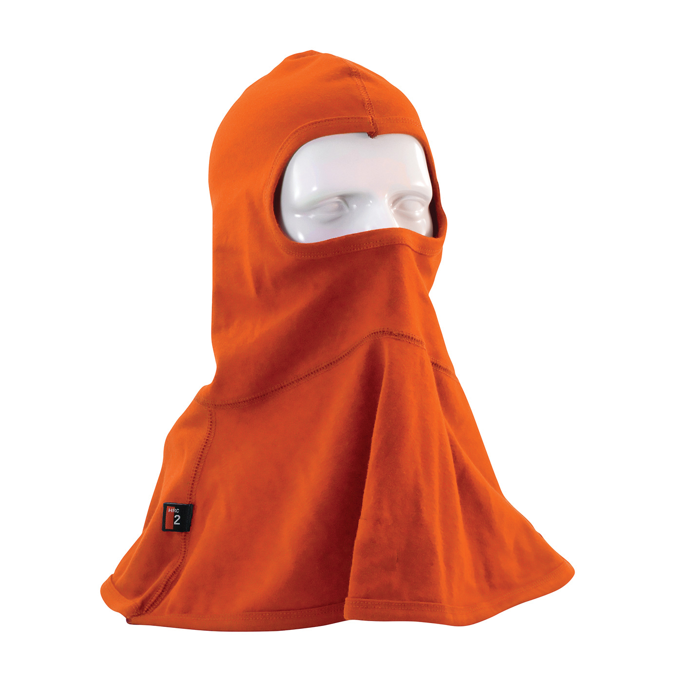 PIP® 385-FRBL11-OR Single Layer Arc and Flame Resistant Balaclava, Universal, Orange, 17-1/4 in L, Interlock Cotton Knit, 6.5 oz Fabric, Full Face Closure
