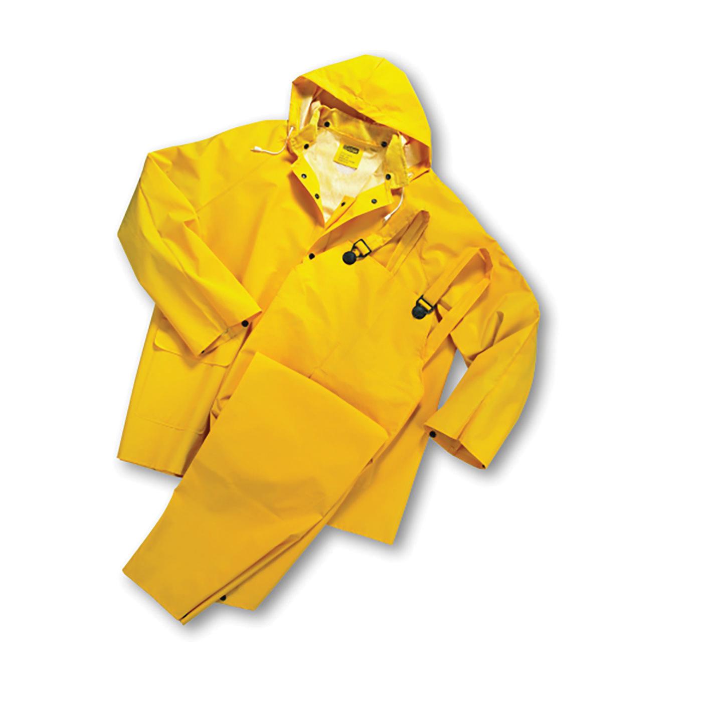 PIP® 4035/7XL 3-Piece Rainsuit, 7XL, Yellow, Polyester/PVC, 62 in Waist, 34 in L Inseam, Drawstring Hood