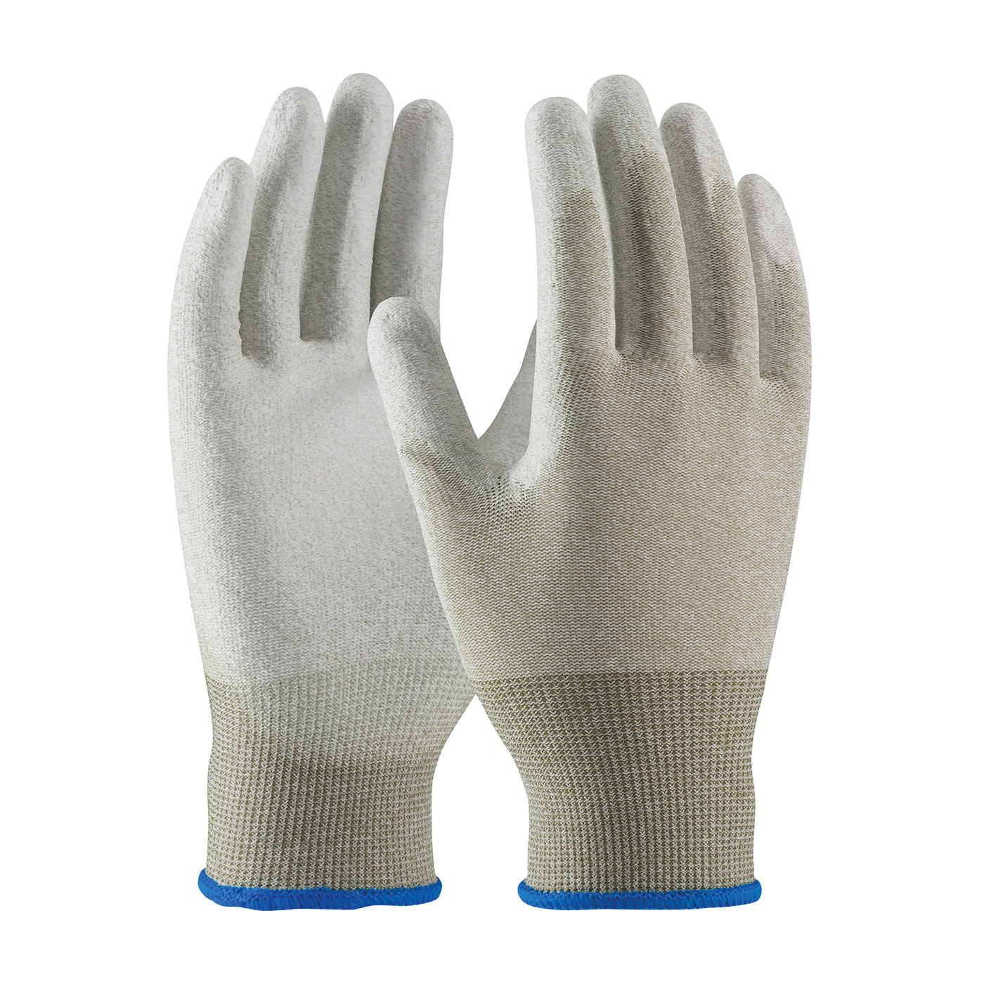 PIP® CleanTeam® 40-6415/L 40-6145 Antistatic Gloves, Seamless Style, 15 ga Nylon/Copper Fiber Yarn, Copper/White, Continuous Knit Wrist Cuff, Polyurethane with Smooth Grip Coating, 9.7 in L, Resists: Abrasion, Cut, Puncture and Tear