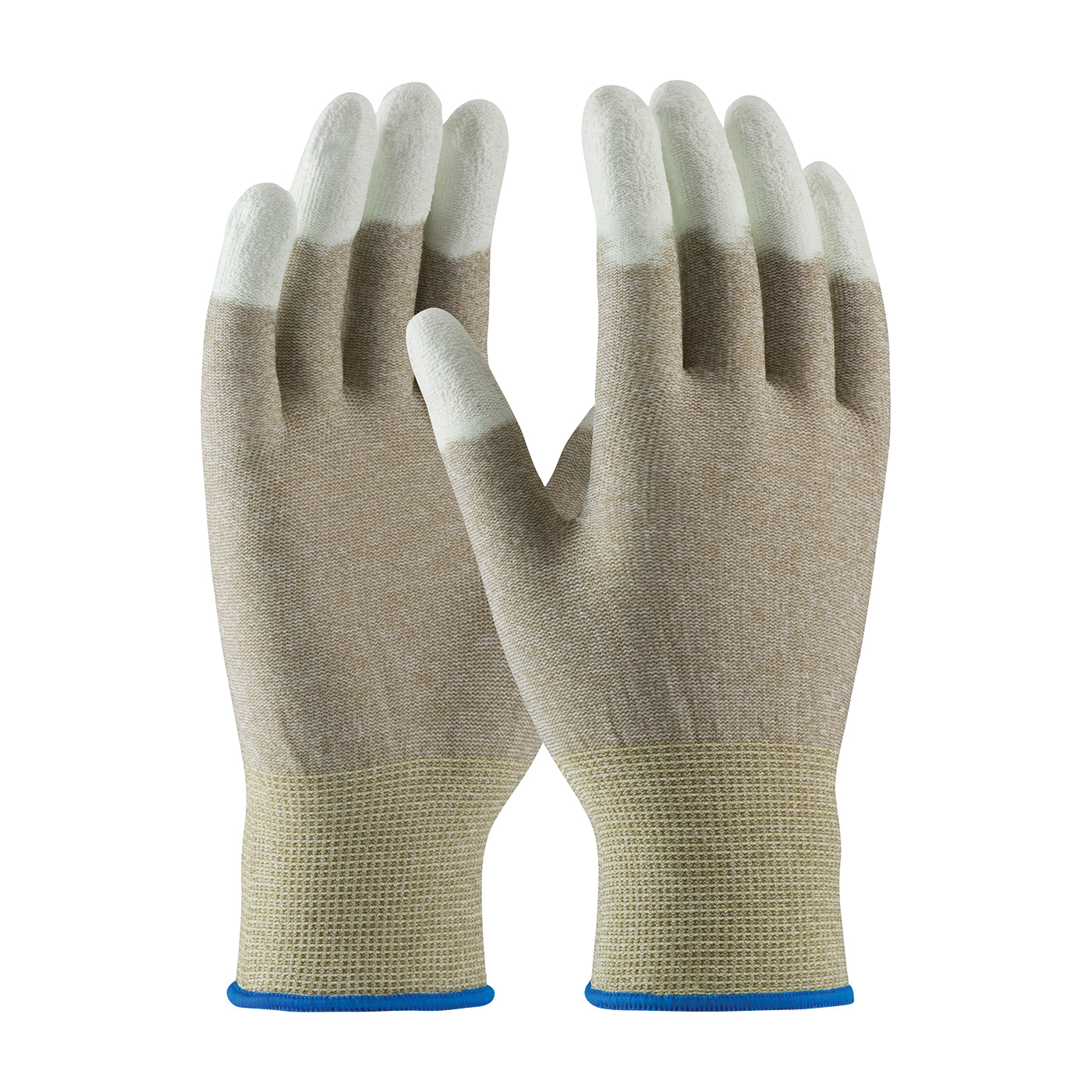 PIP® CleanTeam® 40-6416/L Electrostatic Dissipative Antistatic Gloves, Full Finger/Seamless Style, Carbon Fiber/Nylon/Synthetic, Copper/White, Continuous Knit Wrist Cuff, Polyurethane Coating, 9.7 in L, Resists: Abrasion and Puncture, ASTM D-257:2007