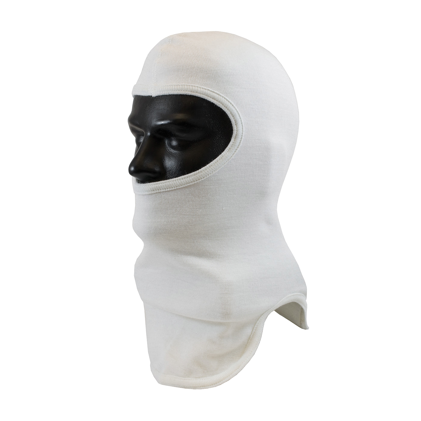 PIP® 906-100NOM7 Double Layer Fire Resistant Hood With Bib, Universal, White, 18 in L, Nomex®, 2 oz Fabric, Tri-Cut Full Face Closure