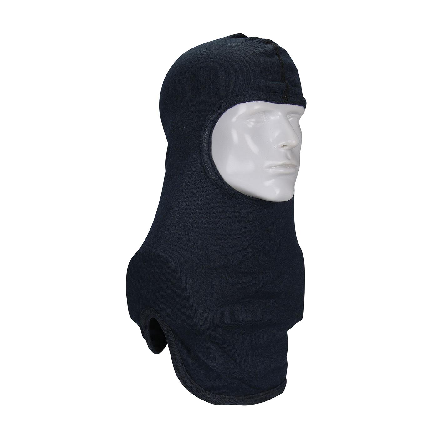 PIP® 906-2080NOL7BLKB Single Layer Fire Resistant Hood With Bib, Universal, Black, 16 in L, 20% Nomex®/80% Lenzing, 4 oz Fabric, Straight Cut Full Face Closure