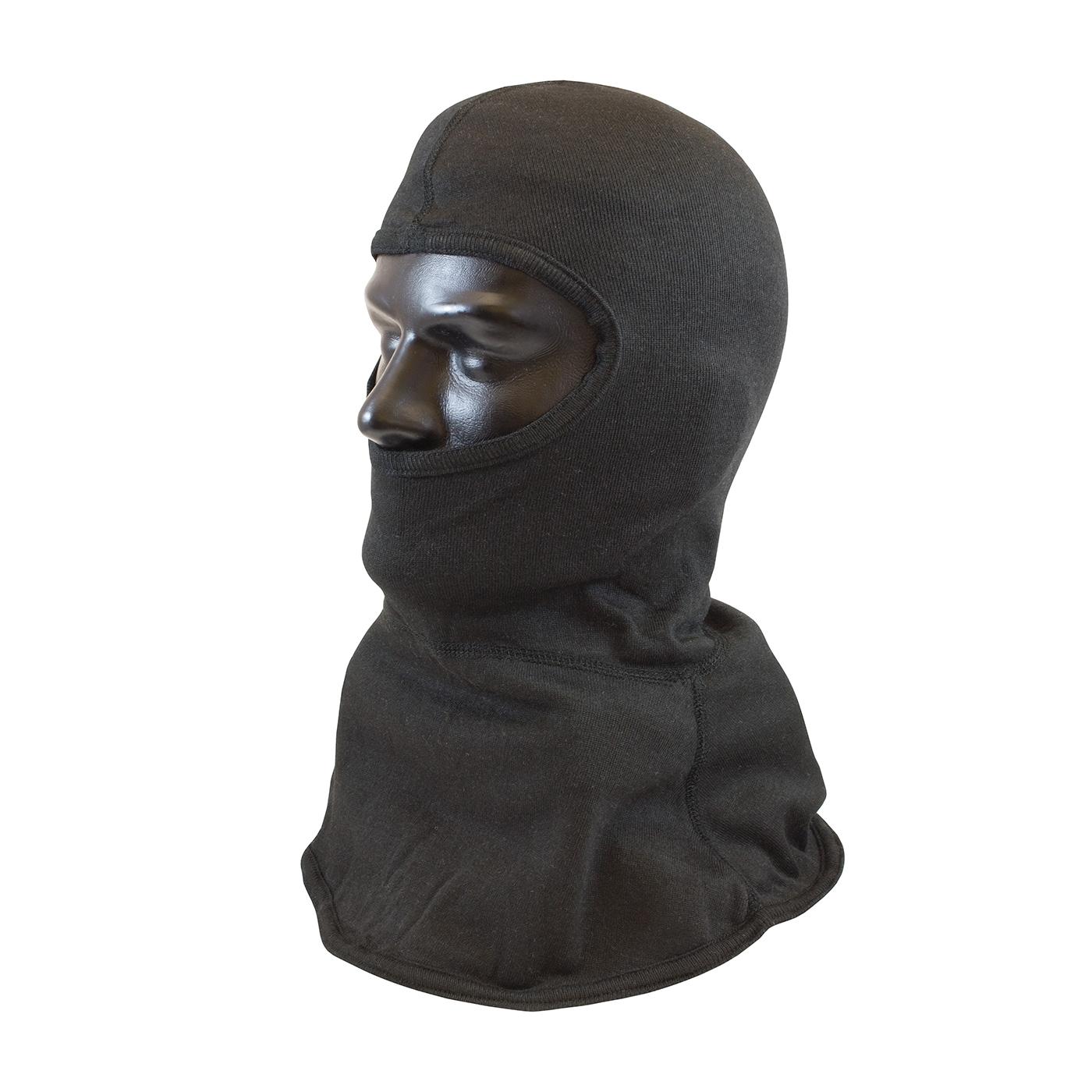 PIP® 906-8416CBX Single Layer Fire Resistant Hood With Bib, Universal, Black, 21 in L, 84% Carbon/16% Technora®, 6 oz Fabric, Straight Cut Full Face Closure