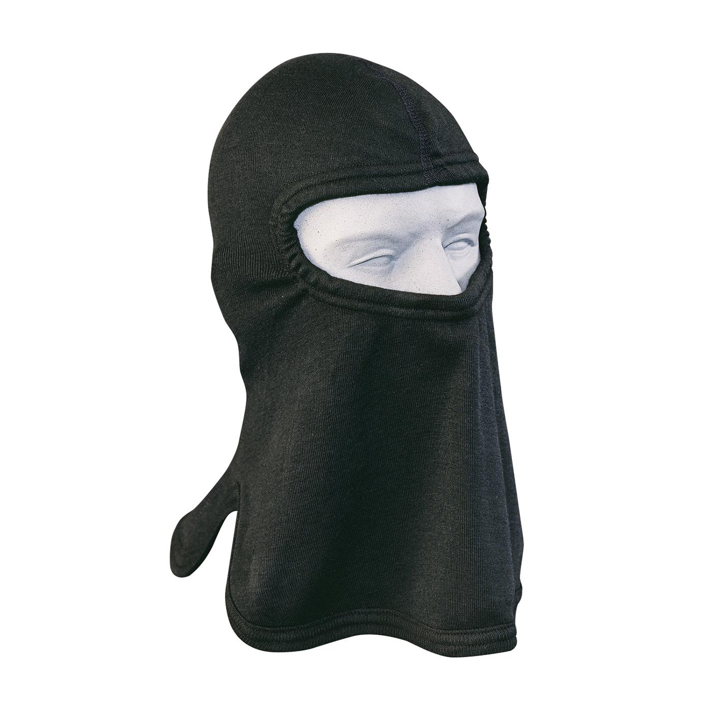 PIP® 906-8416CT Single Layer Fire Resistant Hood With Bib, Universal, Black, 17 in L, 84% Carbon/16% Technora®, 7 oz Fabric, Tri-Cut Full Face Closure