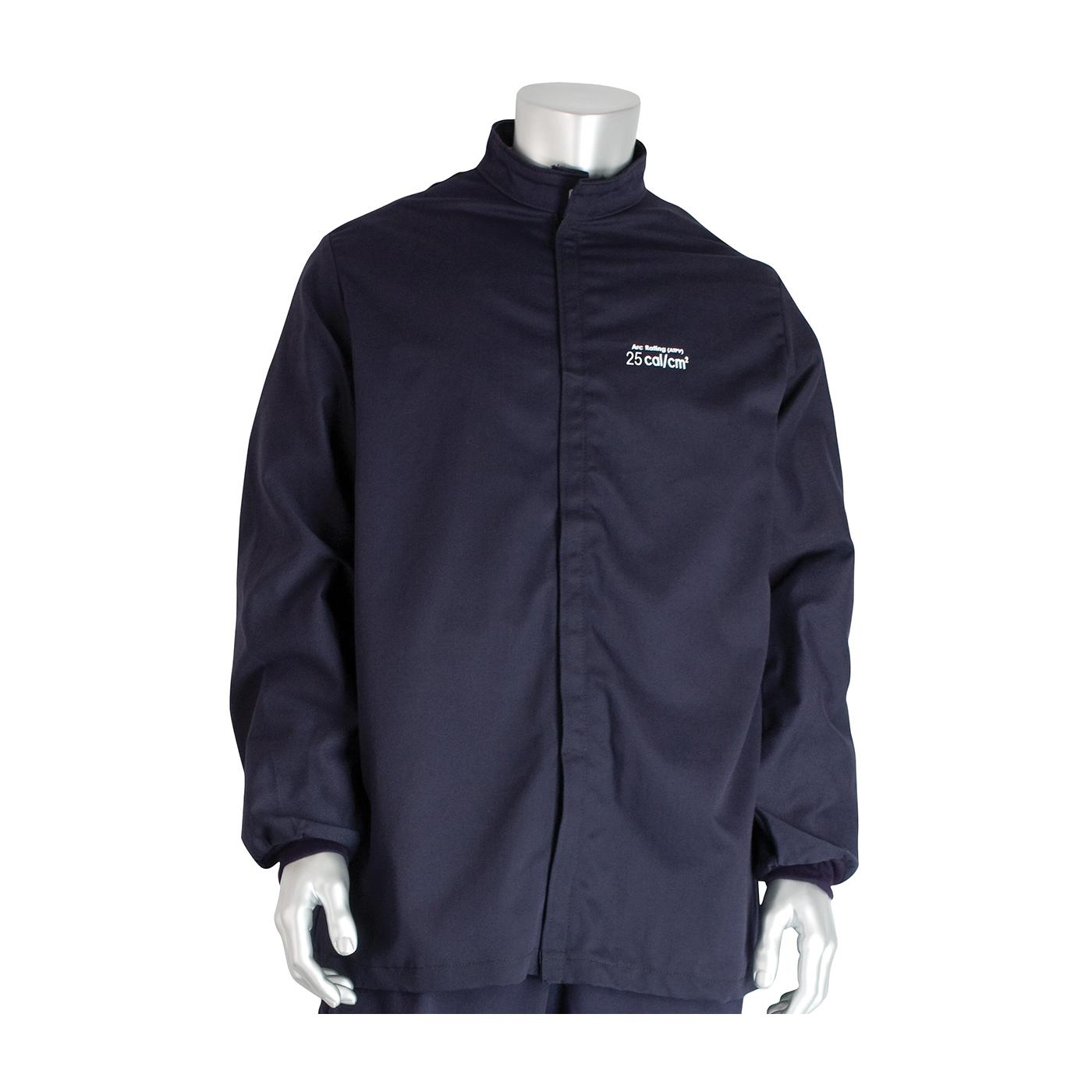 PIP® 9100-21721/2XL Arc and Flame Resistant Jacket, 2XL, Navy, Westex® UltraSoft® 88% Cotton 12% High Tenacity Nylon, 52 to 54 in Chest, Resists: Arc and Flame, ASTM F1506-10a, ASTM F2178-12