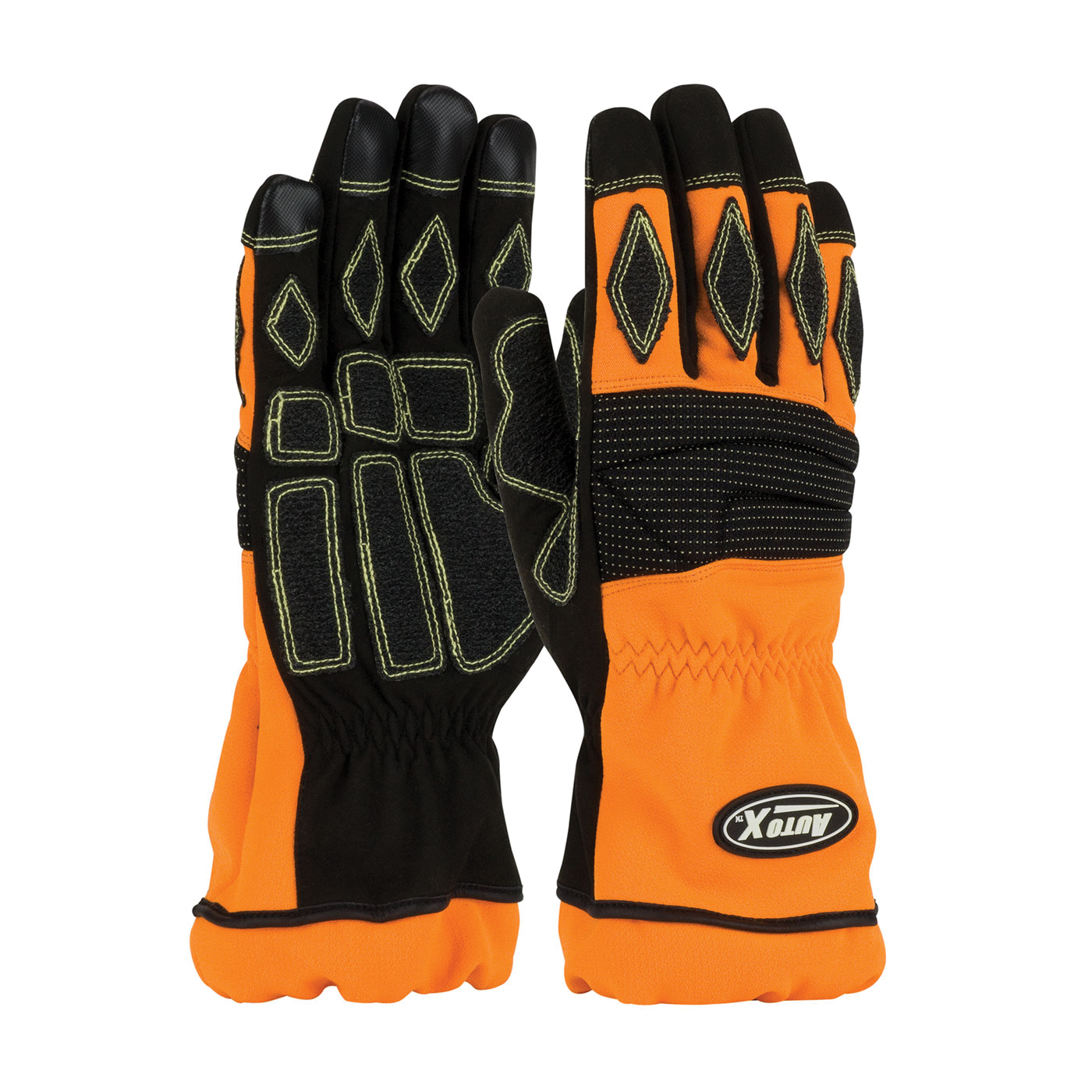 PIP® AutoX™ 911-AX9/L Extrication Gloves, L, Kevlar®, Polyurethane, Black/Orange, Unlined Lining, Open Cuff, 10.8 in L, Resists: Abrasion, Heat, Puncture and Melt