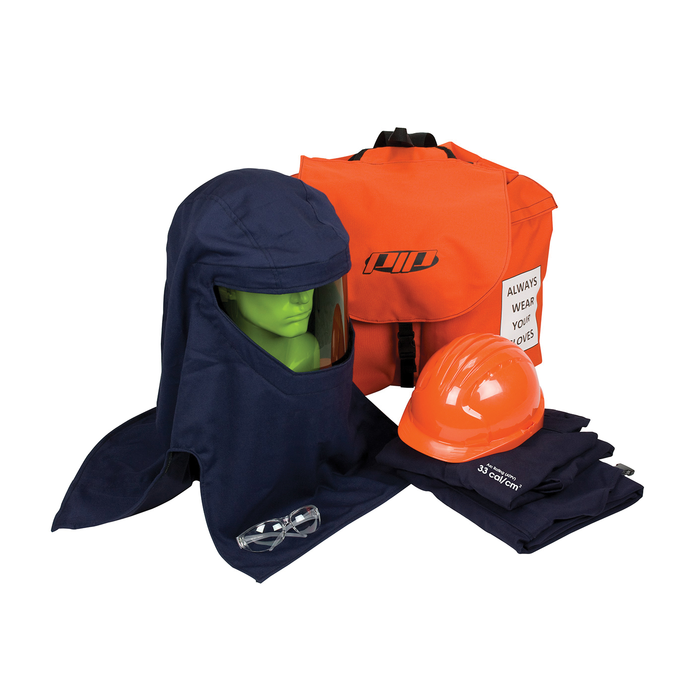 PIP® 9150-21712/2XL Arc Flash Kit, Hazard Risk Category (HRC): 3, Hood/Face Shield Max Arc Flash Protection: 33 cal/sq-cm, Garment Max Arc Flash Protection: 33 cal/sq-cm, Specifications Met: ASTM F1506, ASTM F 2178-12, NFPA 70E-2018, OSHA 29 CFR 1910.269