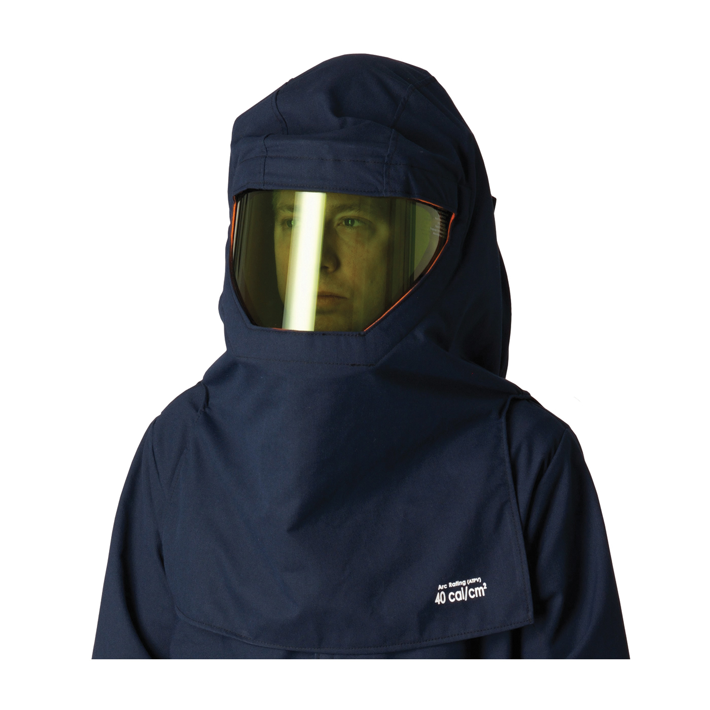 PIP® 9150-5236V Double Layer Ultralight Ventilated Arc and Flame Resistant Hood, Universal, Navy Blue Shell/Orange Lining, 32 in L, DuPont™ Protera®/Westex® UltraSoft® Interlock Knit, 9 oz, 13 oz Fabric