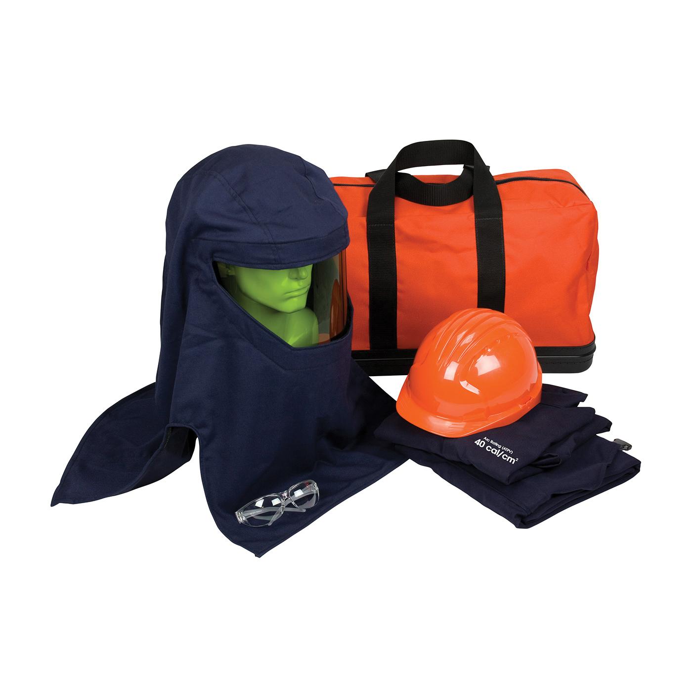 PIP® 9150-52436/2X Arc Flash Kit, Hazard Risk Category (HRC): 4, Hood/Face Shield Max Arc Flash Protection: 40 cal/sq-cm, Garment Max Arc Flash Protection: 40 cal/sq-cm, Specifications Met: NFPA 70E-2018, Arc Hood/Hard Hat Head/Face Protection, 2XL Garment