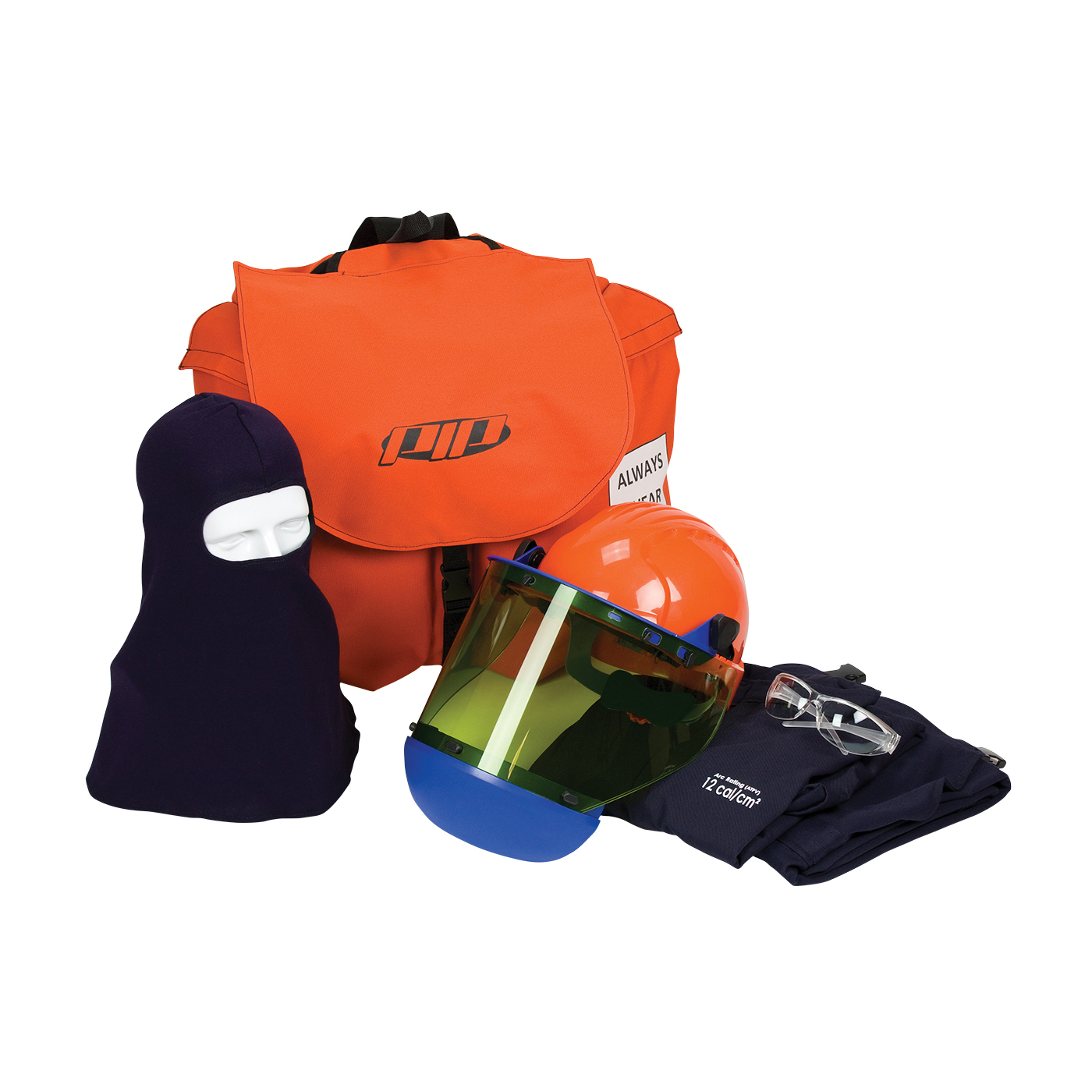CESG by PIP® 9150-53887/L Arc Flash Kit, Hazard Risk Category (HRC): HRC 2, Hood/Face Shield Max Arc Flash Protection: 12 cal/sq-cm, Garment Max Arc Flash Protection: 12 cal/sq-cm, ASTM F1506, Arc Hood/Hard Hat Head/Face Protection, L