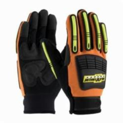 PIP® MOG™ 120-5900 High Performance General Purpose Gloves, Mechanics, Synthetic Leather Palm, Synthetic Leather/Spandex®, Black/Hi-Viz Orange, Slip-On Cuff, Resists: Abrasion, Cut, Puncture and Tear