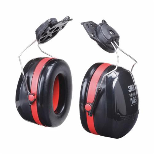 3M™ Peltor™ Optime™ 093045-08103 Ear Muff, 30 dB Noise Reduction, Black/Red, Hard Hat Attached Band Position, CSA Certified Class AL, ANSI S3.19-1974