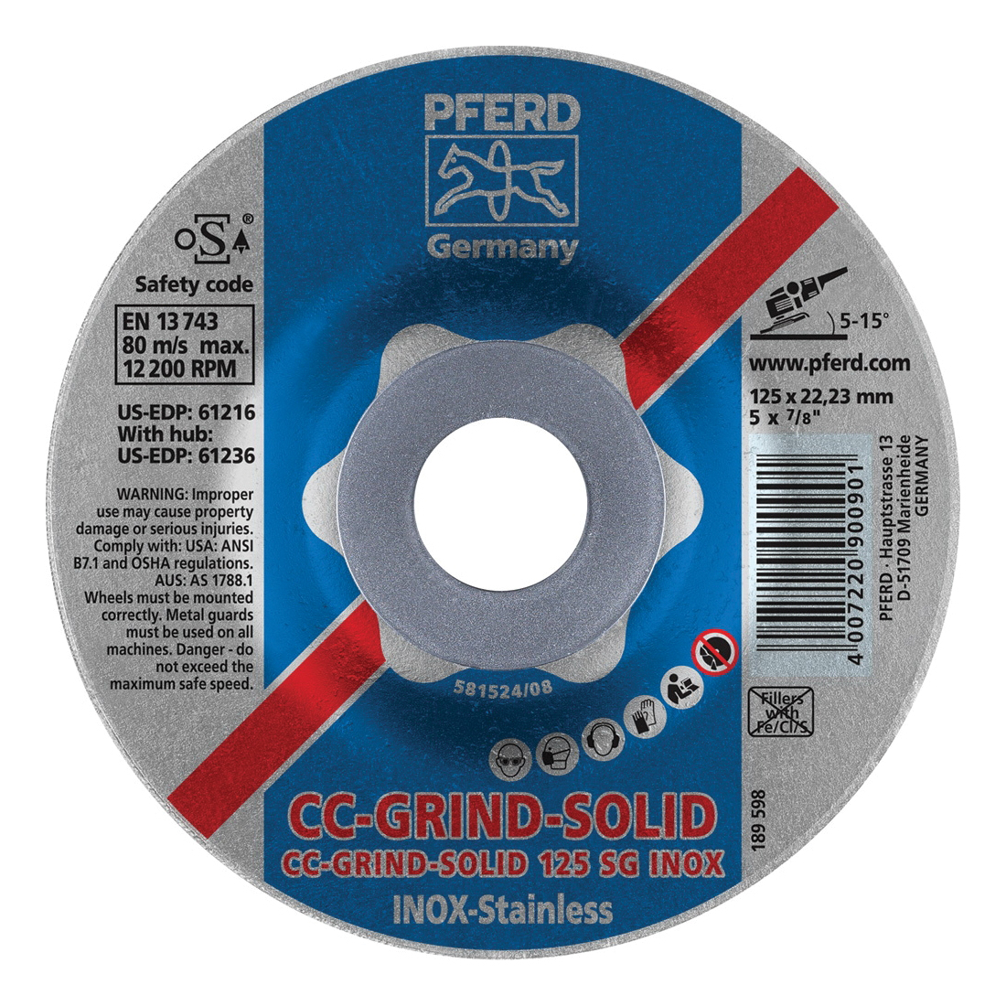 PFERD CC-GRIND®-SOLID Performance Line SG 61216 Unthreaded Coated Abrasive Disc, 5 in Dia