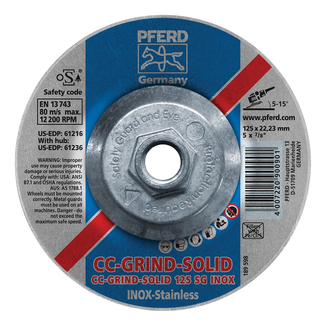 PFERD CC-GRIND®-SOLID Performance Line SG 61236 Threaded Coated Abrasive Disc, 5 in Dia