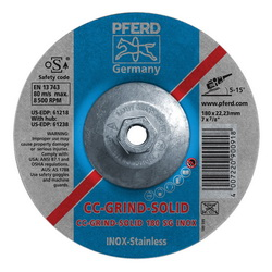 PFERD CC-GRIND®-SOLID Performance Line SG 61238 Threaded Coated Abrasive Disc, 7 in Dia