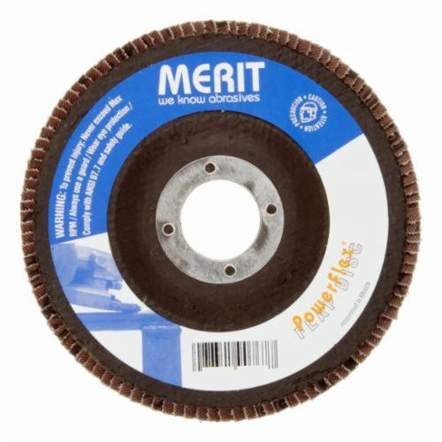 Merit® PowerFlex® 08834195022 Mini Standard Density Type II Coated Abrasive Flap Disc, 2 in Dia, 60 Grit, Coarse Grade, Zirconia Alumina Abrasive, Type 27/Flat Disc