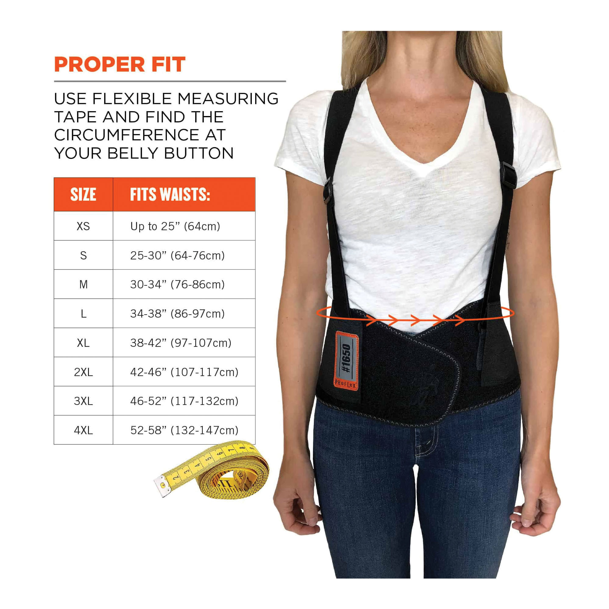 ProFlex® 11091 1650 Economy Back Support With Suspenders, XS, Up to 25 in Fits Waist, 7-1/2 in W, Rubber Webbing, Black, Hook and Loop Closure
