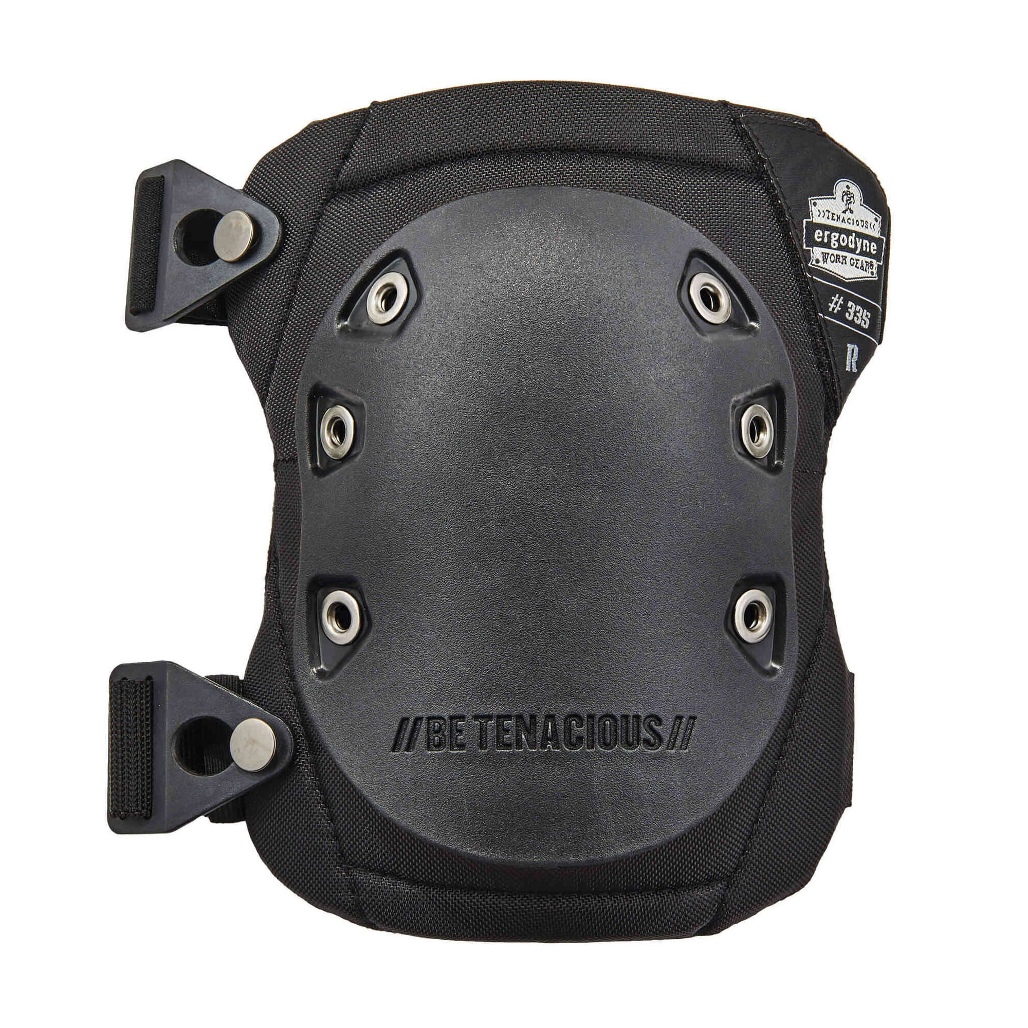 ProFlex® 18335 Non-Marring Cap Knee Pads, Rubber Cap, NBR Foam Pad, Buckle Closure, Black