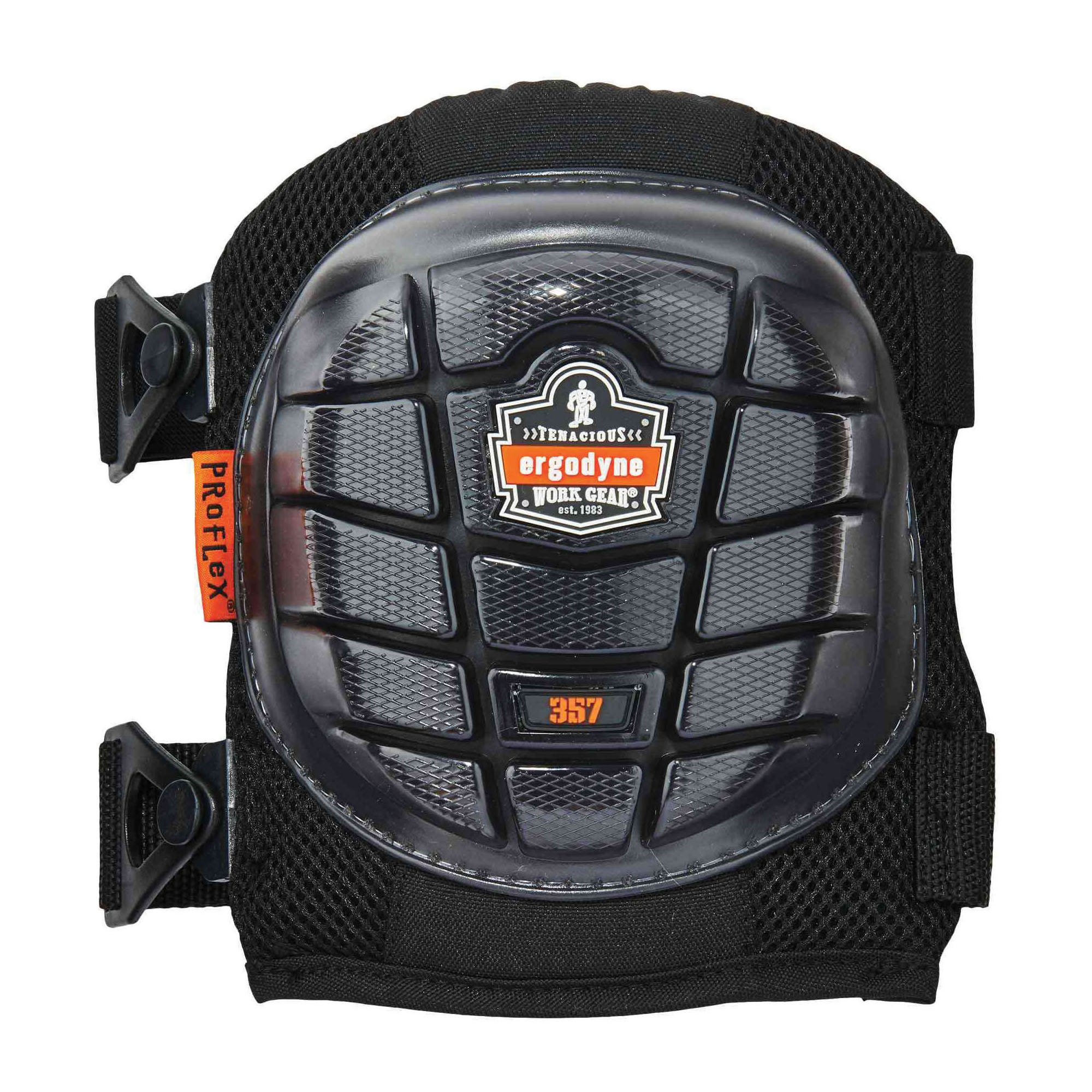 ProFlex® 18457 357 Lightweight Short Cap Knee Pads, Rubber Cap, Gel-Polymer Pad, Clip/Hook and Loop Closure, Elastic Strap, 2 Straps, Black