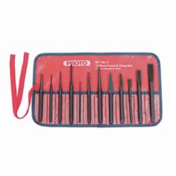 Proto® J2S2 Punch and Chisel Set, Pin/Starting/Center/Cold/Diamond Point/Cape Style, 3/16 to 1/2 in Chisel, 1/16 to 3/8 in Punch, 7 Punches, 5 Chisels, 12 Pieces
