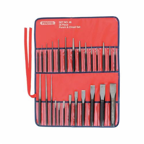 Proto® J46 Punch and Chisel Set, Drive Pin/Starting/Center/Prick/Drift/Cold, 9 1/4 to 1-3/36 in Chisel, 17 3/32 to 1/4 in Punch, 10 in OAL, 26 Pieces